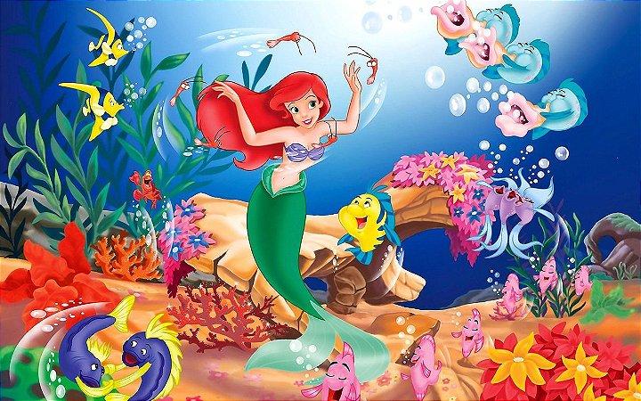 Painel de Festa Infantil Personalizado em Tecido Princesas Disney Ariel Pequena Sereia 1