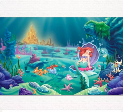 Painel de Festa Infantil Personalizado em Tecido Princesas Disney Ariel Pequena Sereia 3