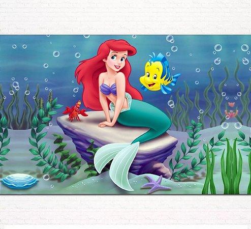 Painel de Festa Infantil Personalizado em Tecido Princesas Disney Ariel Pequena Sereia 4