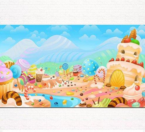 Painel de Festa Infantil Personalizado em Tecido Candy Land