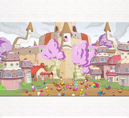 Painel de Festa Infantil Personalizado em Tecido Princesa Jujuba Hora da Aventura