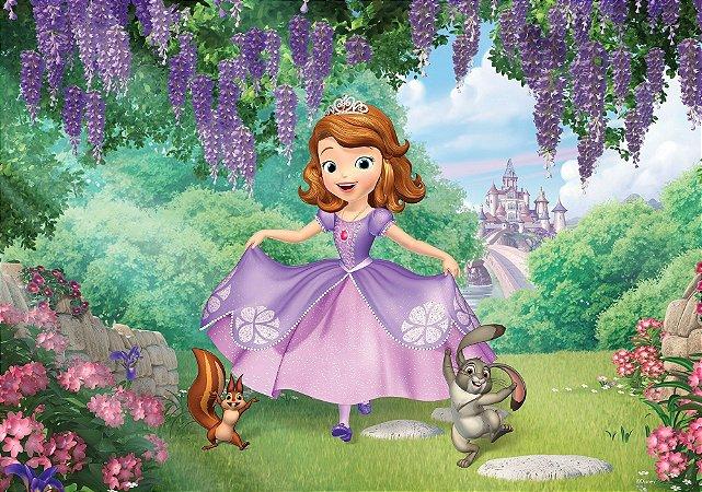 Painel de Festa Infantil Personalizado em Tecido Princesa Sofia 2 PA90