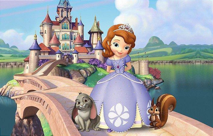 Painel de Festa Infantil Personalizado em Tecido Princesa Sofia 5 PA93