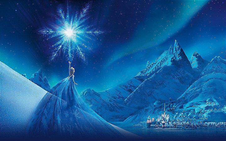 Painel de Festa Infantil Personalizado em Tecido Frozen - PA111