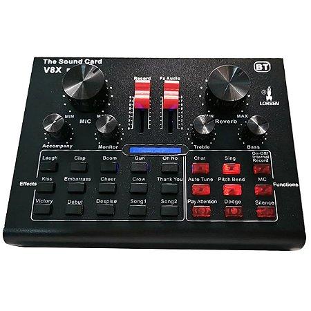 Mini Placa Mixadora Gravadora de Som V8X Pro Live Sound 15 Efeitos Sonoros