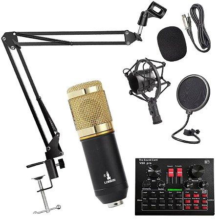 Kit Completo Microfone BM800 com Mini Placa V8X Live Sound