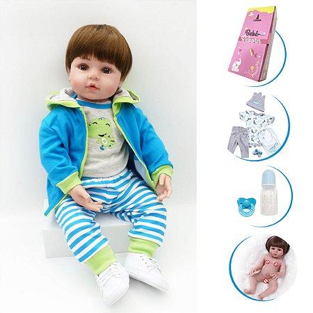 Boneco Bebê Reborn Menino Corpo em Vinil com Acessórios