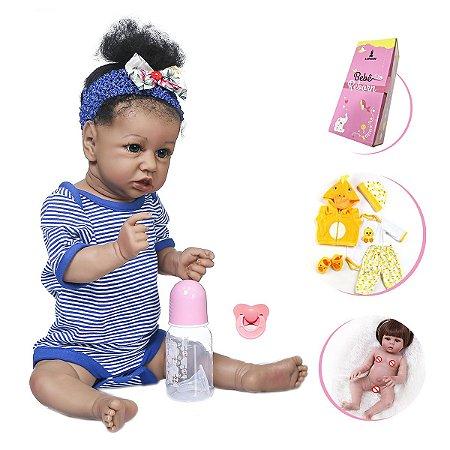 Boneca Bebê Reborn Menina Corpo em Vinil com Acessórios