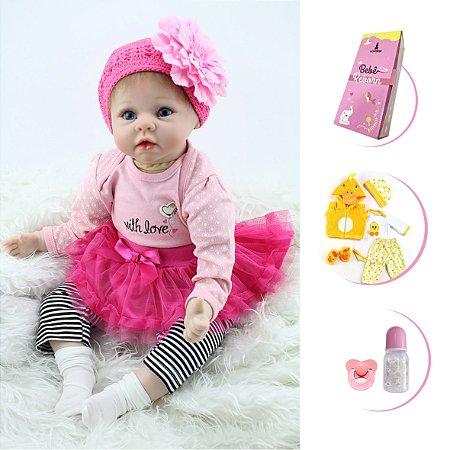 Boneca Bebê Reborn Menina Vinil Corpo em Tecido com Acessórios