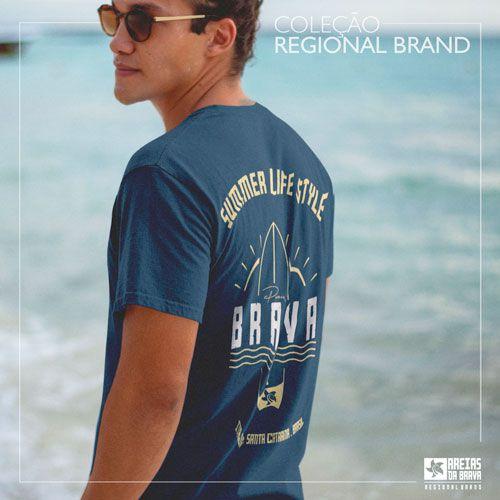 Camiseta Estonada Marmorizada - Frente e Costas - Brava