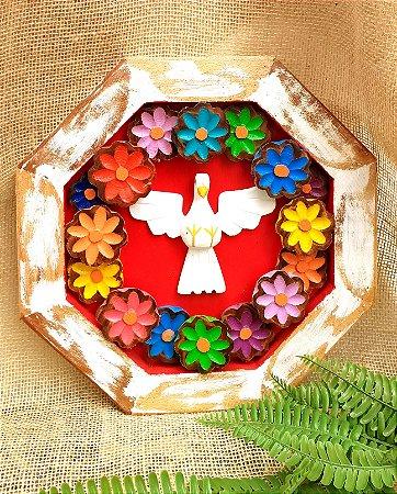 Mandala Divino Espírito Santo Madeira Artesanal Vermelha 32 cm