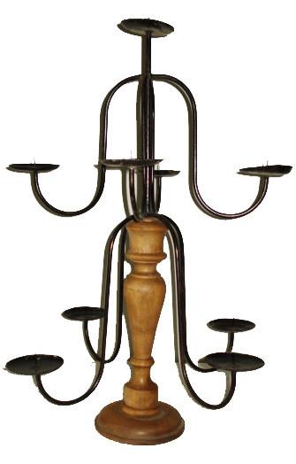 Castiçal Candelabro Madeira e Ferro Para 9 velas