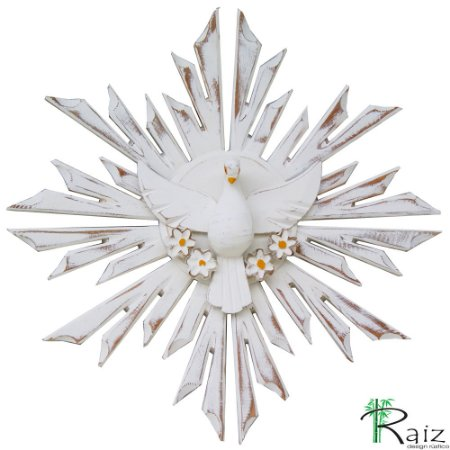 Divino Espírito Santo 4 Flores Madeira Pátina Branca Rústico 35 cm