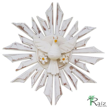 Divino Espírito Santo com 2 Flores Redondo Madeira Pátina Branca Rústico 27cm