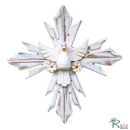 Divino Espírito Santo com Flores Cruz Madeira Pátina  Branca Rústico (28x28)cm