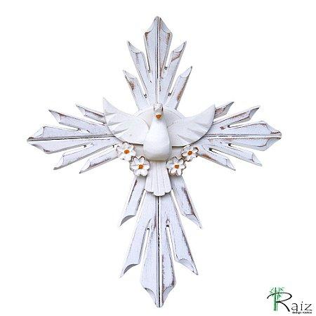 Divino Espírito Santo com Flores Cruz Madeira Pátina Branca Rústico (40x35)cm