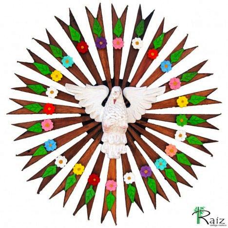 Divino Espírito Santo com Flores e Folhas Madeira Resplendor Redondo Encerado 53cm