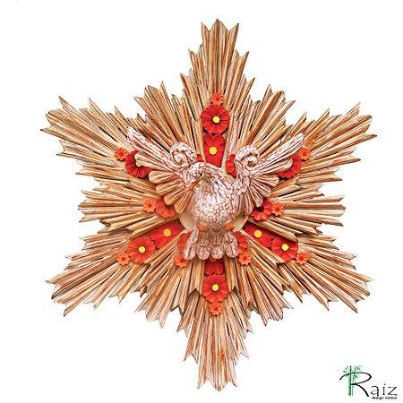 Divino Espírito Santo com Flores e Resplendor Duplo Madeira de Demolição Encerado 60cm