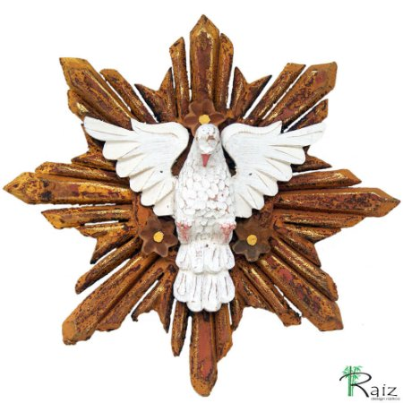 Divino Espírito Santo Com Flores Madeira Pátina Branca E Ocre Pintura Queimada 40cm