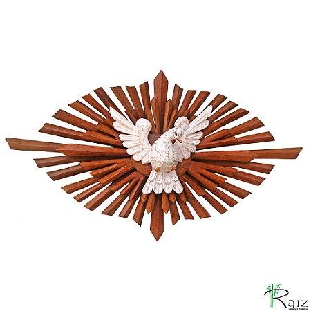 Divino Espírito Santo com Resplendor Oval Duplo em Madeira de Tom Natural Encerada