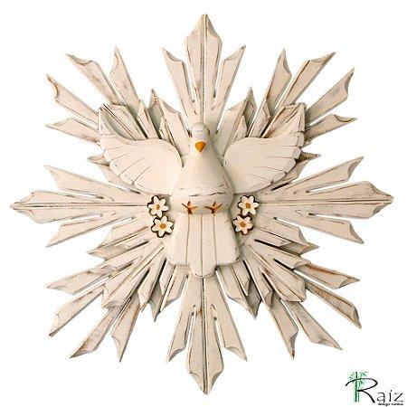 Divino Espírito Santo Com Flores Madeira Resplendor Duplo Pátina Branca 50cm