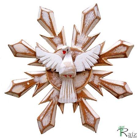 Divino Espírito Santo Madeira Resplendor Redondo Pátina Branca