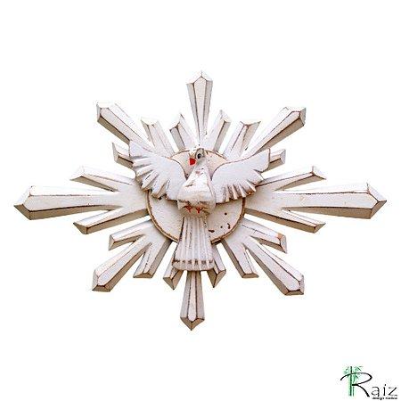 Divino Espírito Santo Madeira Resplendor Oval Pátina Branca