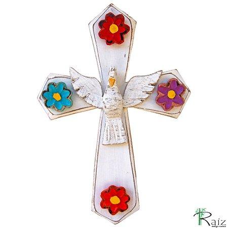Escultura Divino Espírito Santo com Flores Cruz