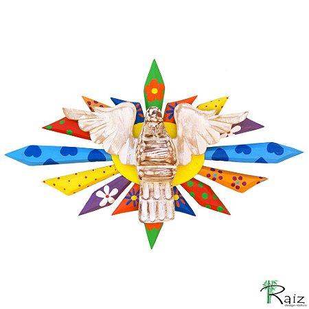 Divino Espírito Santo Resplendor Oval Madeira Pátina Branca Patchwork 43cm
