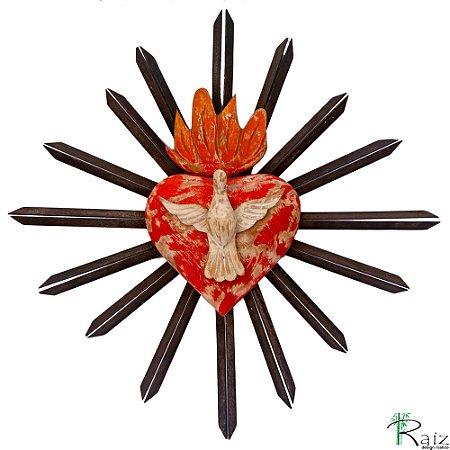 Divino Espírito Santo Sobre Coração e Resplendor de Metal