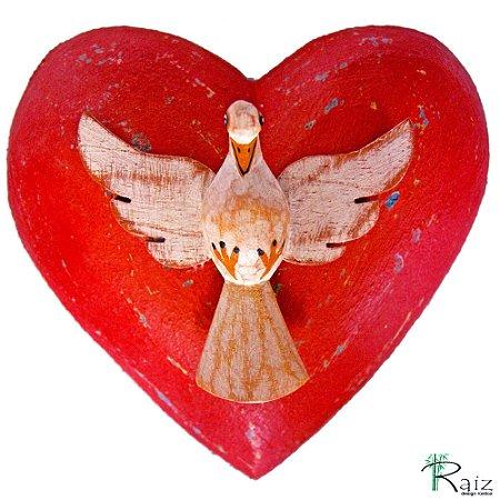 Divino Espírito Santo Sobre Coração Madeira (10x10x5cm)cm