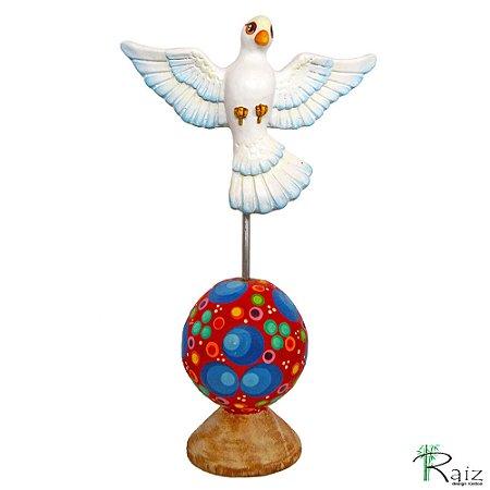 Estatueta Divino Espírito Santo na Esfera Colorida 22cm