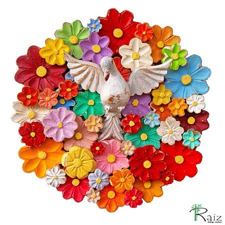 Mandala Divino Espírito Santo com Flores Coloridas Madeira Encerada 35 cm