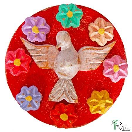 Mandala Divino Espírito Santo com Flores Coloridas Madeira Rústico Pátina Branca  e Vermelho 12cm
