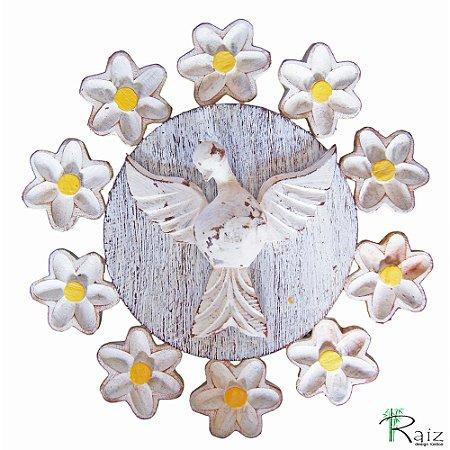 Mandala Divino Espírito Santo com Flores Madeira Pátina Branca Rústico 25cm