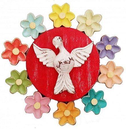 Mandala Divino Espírito Santo e Flores Vazada Linha Luxo Color (25x25cm)