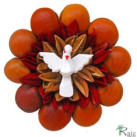Mandala Divino Espírito Santo Madeira com Folhas e Sementes Secas