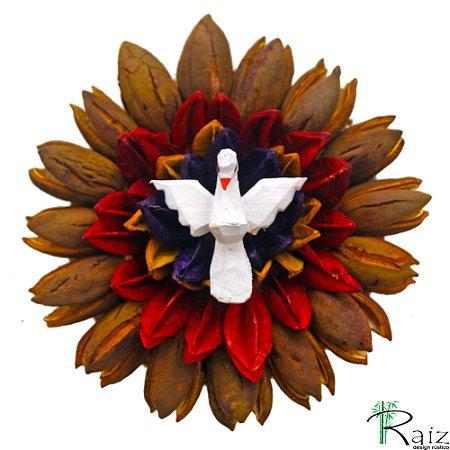 Mandala Divino Espírito Santo Madeira com Folhas Secas