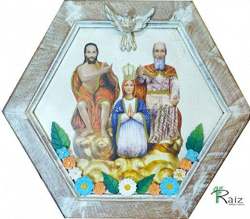Quadro Divino Pai Eterno Decoupage e Aplicação de Peças de Madeira