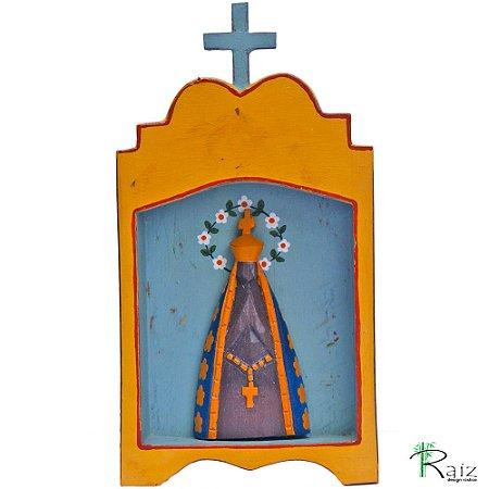 Oratório Artesanal em Madeira Nossa Senhora Aparecida