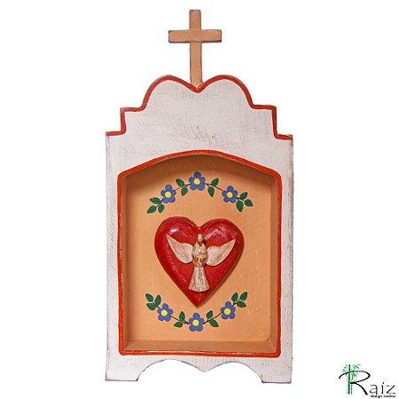 Oratório Divino Espírito Santo Madeira para Mesa ou Parede Branco e Pêssego
