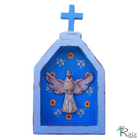 Oratório Divino Espírito Santo Madeira para Mesa ou Parede 18cm