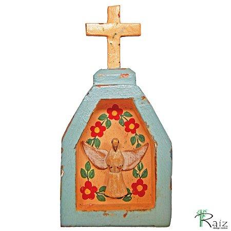 Oratório Divino Espírito Santo Madeira para Mesa ou Parede Azul Bebê (14x7x3)cm
