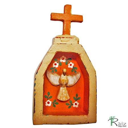 Oratório Divino Espírito Santo Madeira para Mesa ou Parede Bege e Marrom (14x7x3)cm