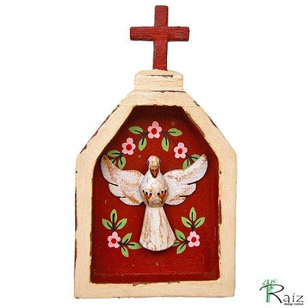 Oratório Divino Espírito Santo Madeira para Mesa ou Parede Bege e Marrom (18x10x3)cm