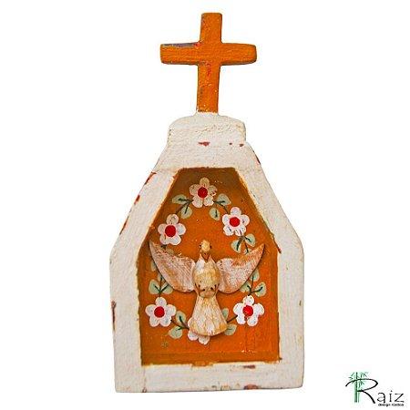 Oratório Divino Espírito Santo Madeira para Mesa ou Parede Branco e Marrom (14x7x3)cm