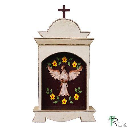 Oratório Divino Espírito Santo Madeira para Mesa ou Parede Branco Marrom 33cm