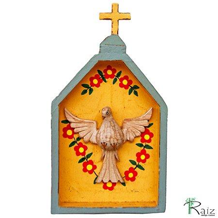Oratório Divino Espírito Santo Madeira para Mesa ou Parede Cinza e Pêssego (26x14x3)cm