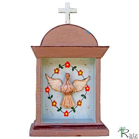 Oratório Divino Espírito Santo Madeira para Mesa ou Parede Marrom e Azul