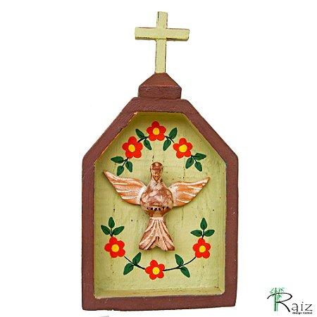 Oratório Divino Espírito Santo Madeira para Mesa ou Parede Marrom e Verde (23x12x3)cm